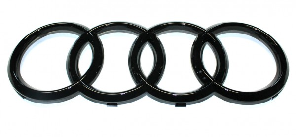 Audi Emblem / Ringe schwarz glänzend für Kühlergrill (A6/S6/RS6/A7/S7/RS7/A8/Q2) ab MJ 2015