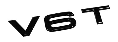 "Audi Emblem ""V6T"" schwarz glänzend"