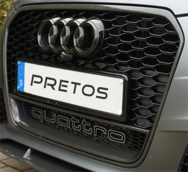 Audi RS6 Kühlergrill mit Carbon Rahmen und quattro Trichter