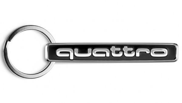"""Audi Schlüsselanhänger """"Quattro"""", schwarz / silber"""