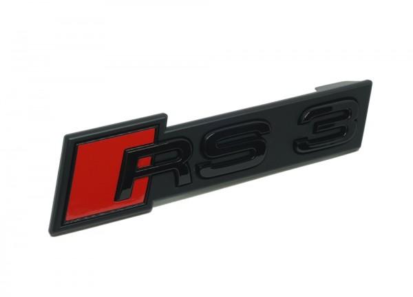 """Audi Emblem """"RS 3"""" (Facelift) schwarz glänzend für Kühlergrill"""