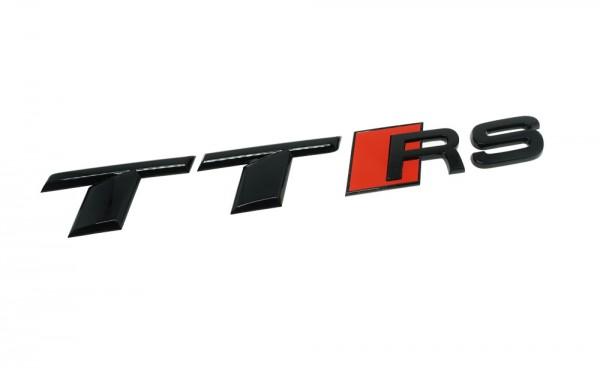 """Audi Schriftzug """"TT RS"""" schwarz glänzend inkl. roter Raute - für Gepäckraumklappe"""