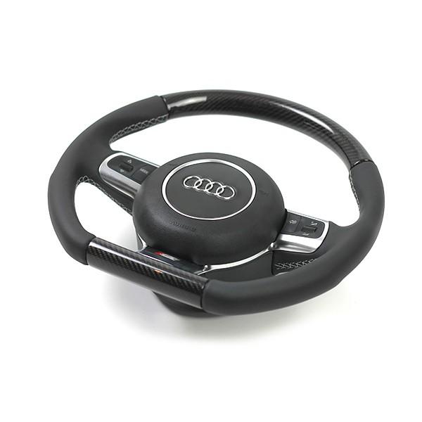 Audi RS5 Sportlederlenkrad im 3-Speichen-Design (unten abgeflacht) mit Schaltwippen und Carbon Segme