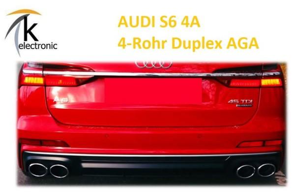 AUDI A6 4A C8 Duplex 4-Rohr Endrohrblenden im S6 Design für Heckstoßfänger Nachrüstpaket
