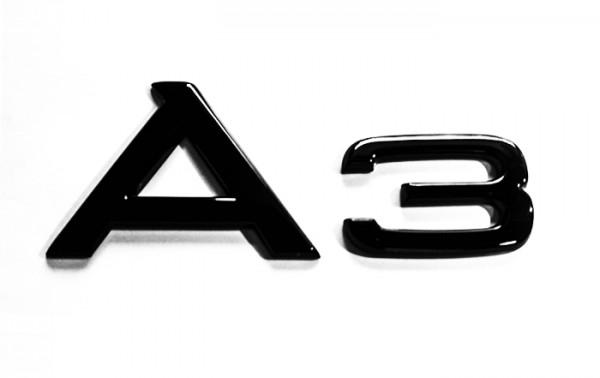 """Audi Schriftzug """"A3"""" schwarz glänzend für Gepäckraumklappe"""