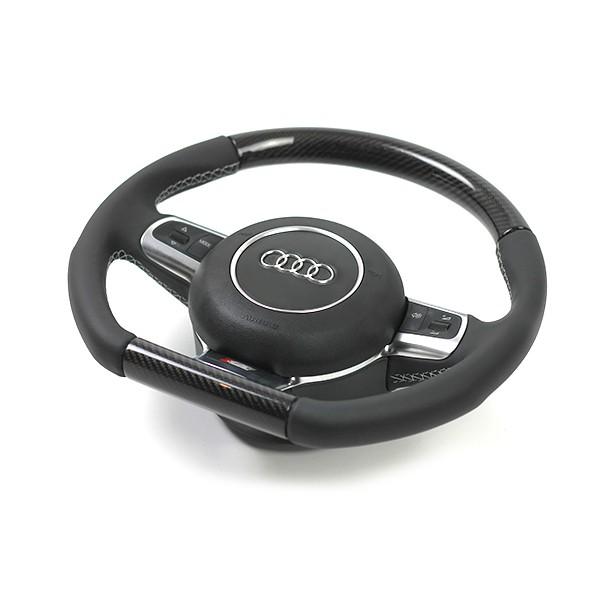 Audi TTRS Sportlederlenkrad im 3-Speichen-Design (unten abgeflacht) mit Schaltwippen und Carbon Segm
