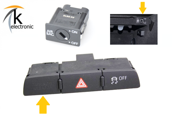 AUDI Q7 4L Beifahrerairbag Schlüsselschalter Airbagschalter Nachrüstpaket